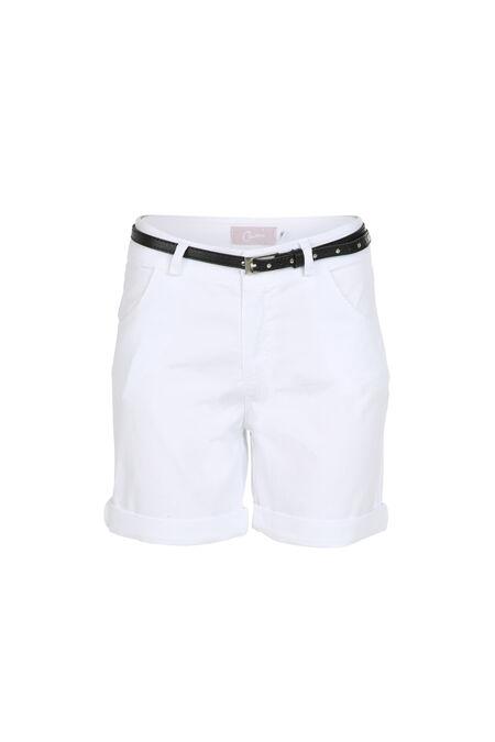 Katoenen short met riem - Wit