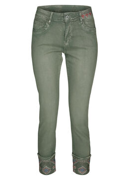 Pantalon 7/8e brodé, Vert Olive