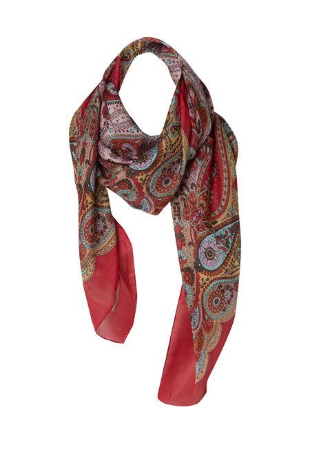 Zijden sjaaltje met paisleyprint - Rood