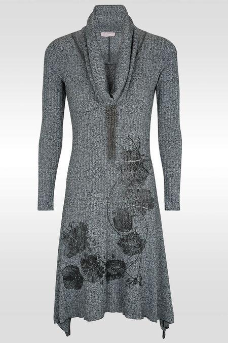Lange jurk in warm tricot - Grijs