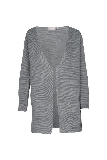 Lange cardigan in gestructureerd tricot - Grijs