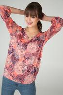 T-shirt met 3/4-mouwen en mandalaprint, Koraal