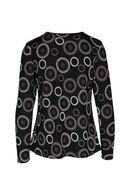 T-shirt in bedrukt tricot, Zwart