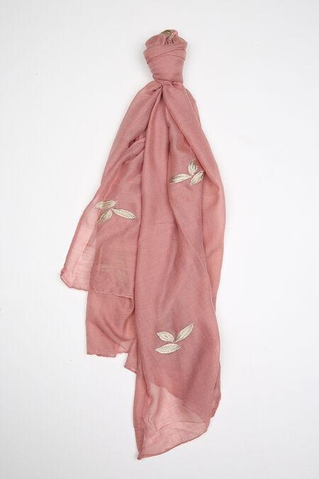Foulard uni avec broderie de feuilles - Vieux rose