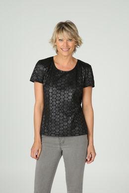 T-shirt in geborduurde suèdine, Zwart