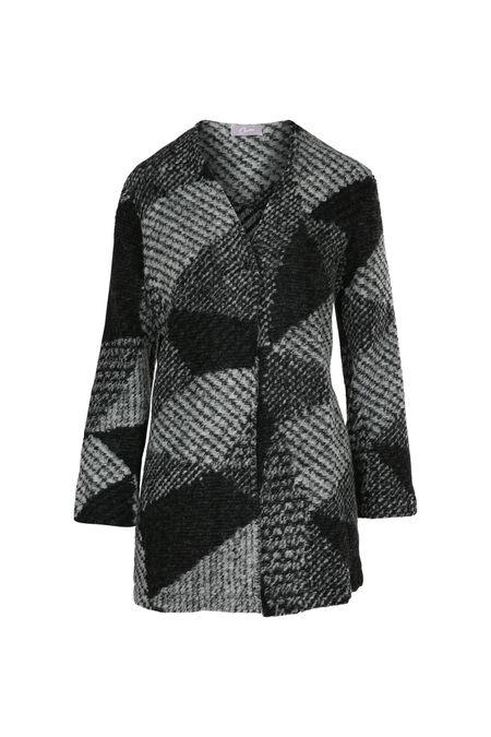 Cardigan en laine effet graphique - Gris