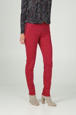 Pantalon détails cuir, Framboise