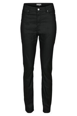 Pantalon en enduit taille haute, Noir