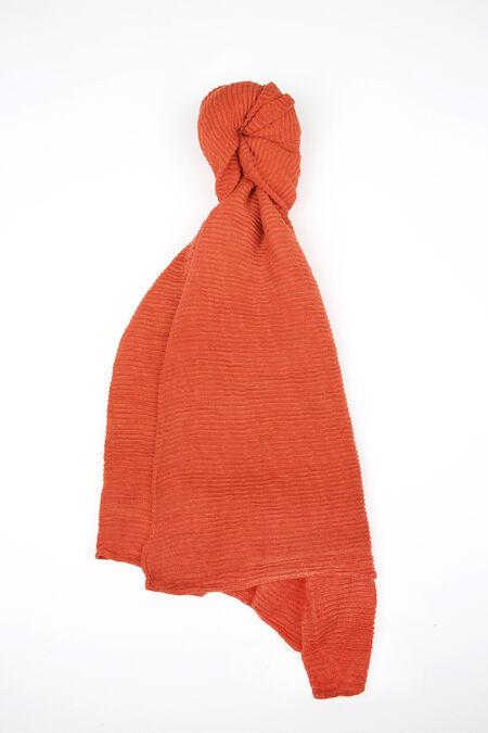 Gesmokte en effen sjaal - Oranje
