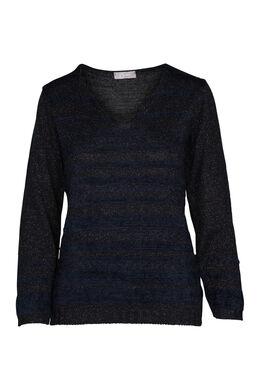 Pluizige trui met lurexstrepen, Marineblauw