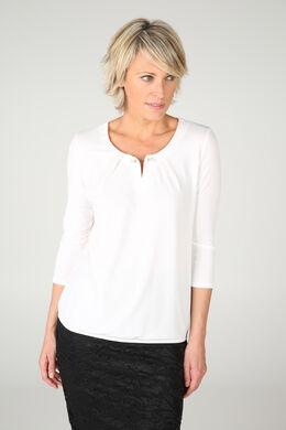 T-shirt met halsjuweel, Ecru