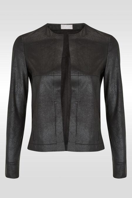 Veste en faux cuir vieilli - Noir