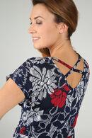 Jurk in tricot met gomprint van bloemen, Marineblauw
