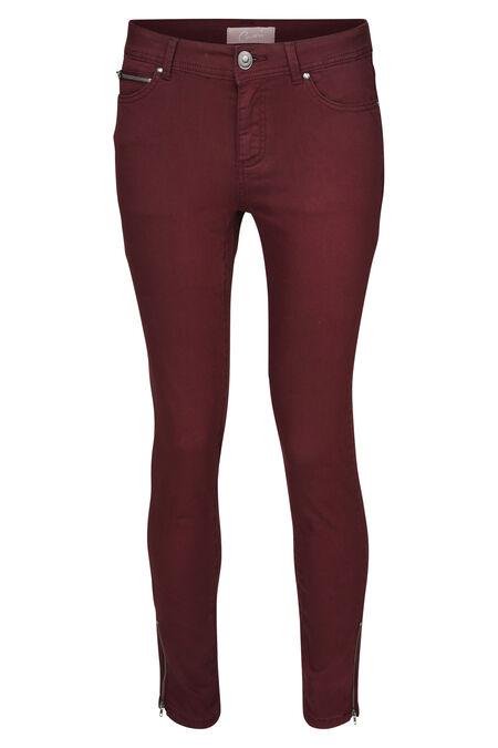 Pantalon slim zip bas de jambe - Bordeaux