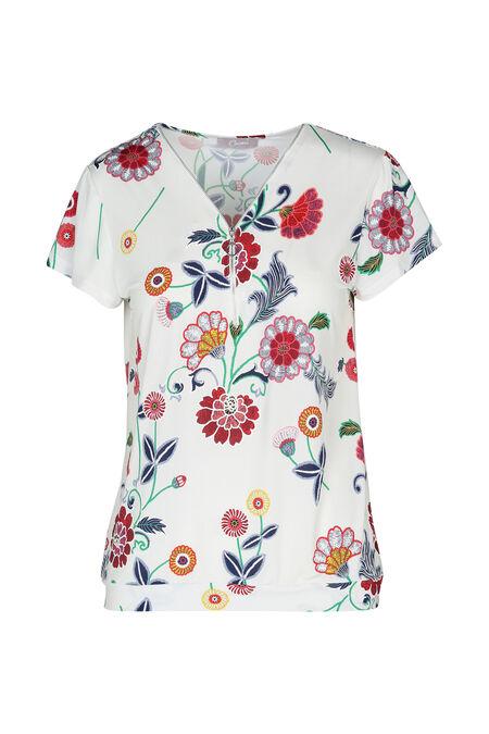 T-shirt imprimé fleurs et gomme - Ecru