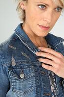 Veste courte en jeans bordée, Denim