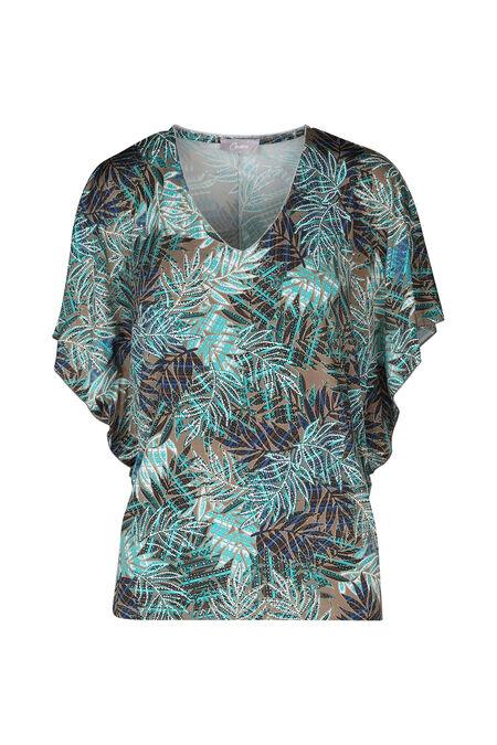 T-shirt in koel tricot met vlindermouwen - Appelblauwzeegroen