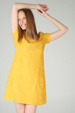 Linnen jurk met borduurwerk en lovertjes, Oker