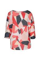 T-shirt lurex imprimé géométrique, Corail