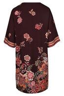 Hoesjurk met bloemenprint en strepen., Aubergine