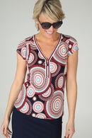 T-shirt met mandalaprint, Rood