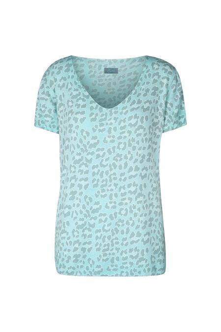 T-shirt met luipaardprint - Appelblauwzeegroen