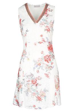 Kanten jurk met bloemenprint, Koraal