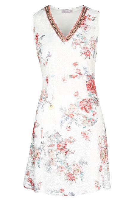 Kanten jurk met bloemenprint - Koraal