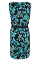 Robe plissée imprimé fleuri, Turquoise