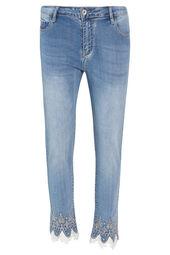 Cassis - Slim jeans met borduurwerk en kant