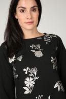 T-shirtsweater met zilverkleurige bloemen, Zwart