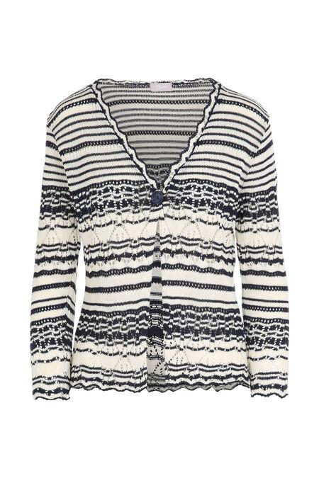 Cardigan in opengewerkt tricot - Marineblauw
