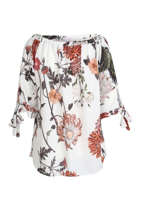 Bloes met blote schouders en bloemenprint - Terracotta