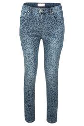 Kuitlange jeans met luipaardprint