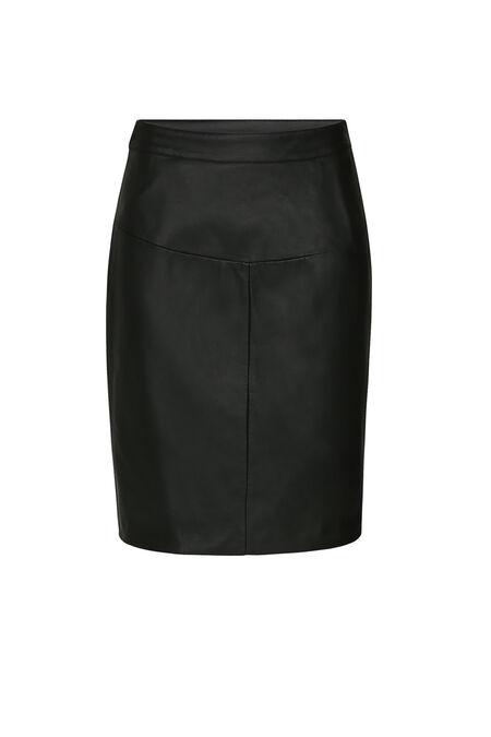 Jupe longueur genoux simili-cuir - Noir