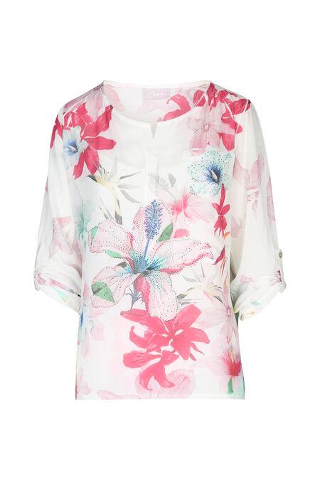 Tunique avec poche imprimé fleur - Fushia