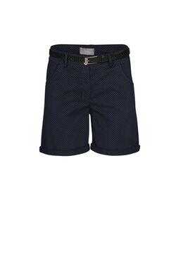 Katoenen short met stippen, Marineblauw