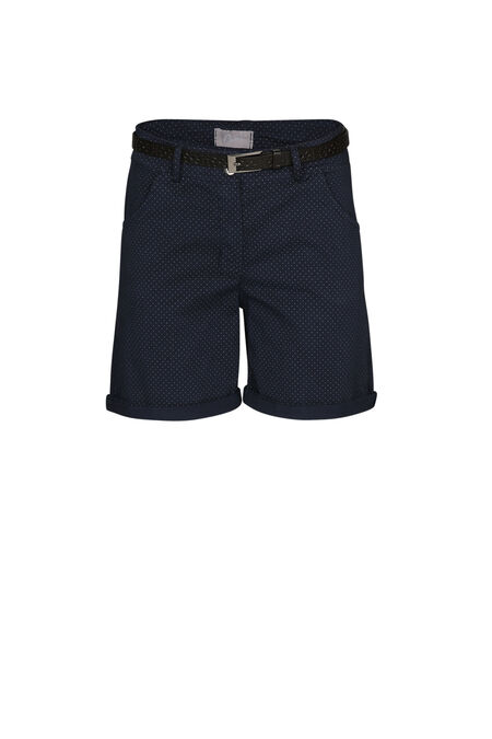 Short coton imprimé pois - Marine