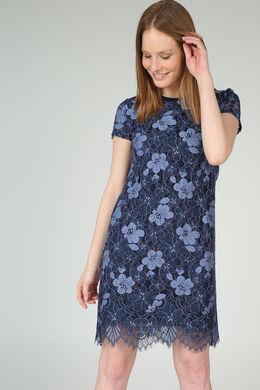 Jurk in bloemetjeskant, Marineblauw