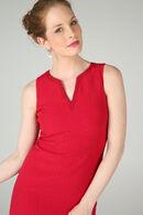Effen jurk met Tunesische hals, Rood