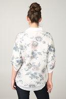 Pull en chemise 2 en 1 et imprimé fleurs, Bleu