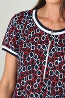 Robe imprimé géométrique avec zip, Rouge