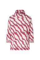 Pull col roulé maille rayures, Fushia