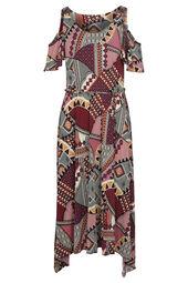 Halflange jurk met een etnische print