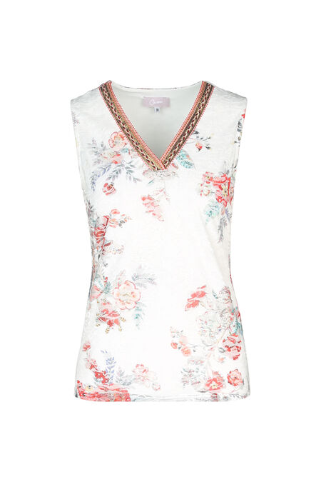 T-shirt en dentelle imprimé fleuri - Orange