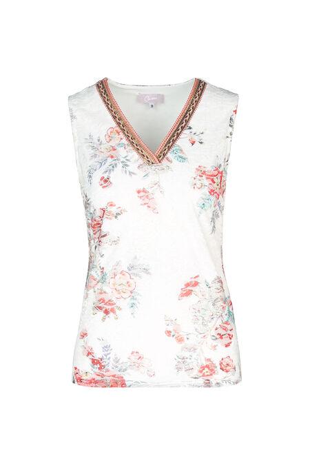 Kanten T-shirt met bloemenprint - Oranje