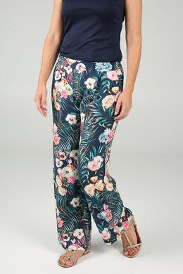 Soepele broek met jungleprint, Marineblauw
