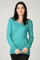 Trui met V-hals en strassteentjes, Turquoise
