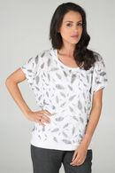 T-shirt 2 en 1 imprimé plumes, Ecru