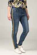 Kuitlange slim jeans met okerkleurige stroken, Denim